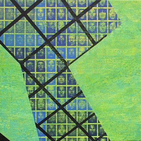 Mensenwerk II zeefdruk-acryl op linnen 100 x 100