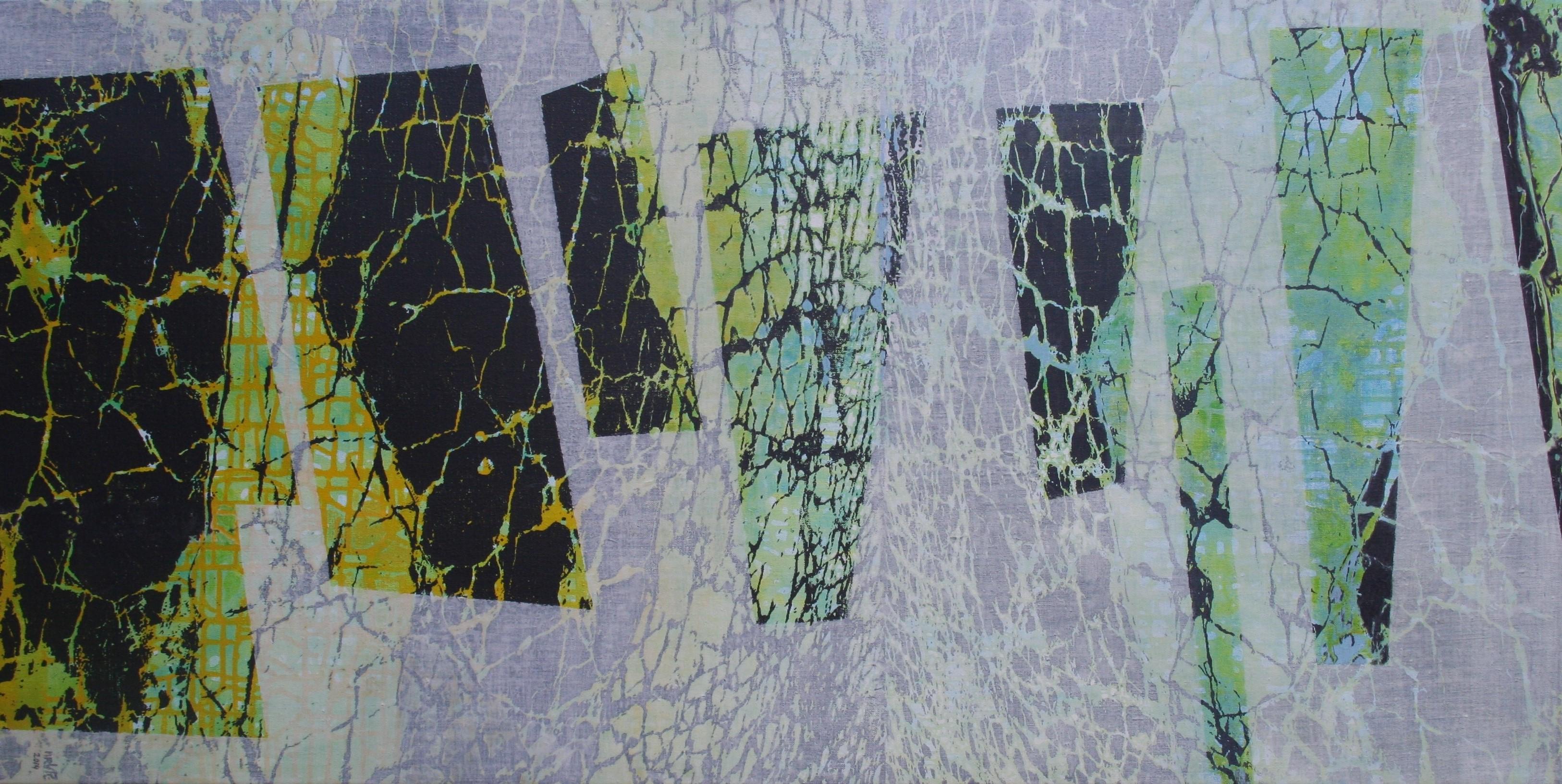 Opklaringen zeefdruk-acryl op linnen  70 x 140