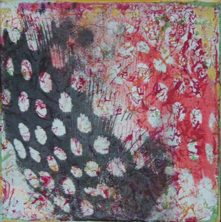 Veren zeefdruk-acryl op linnen 20 x 20