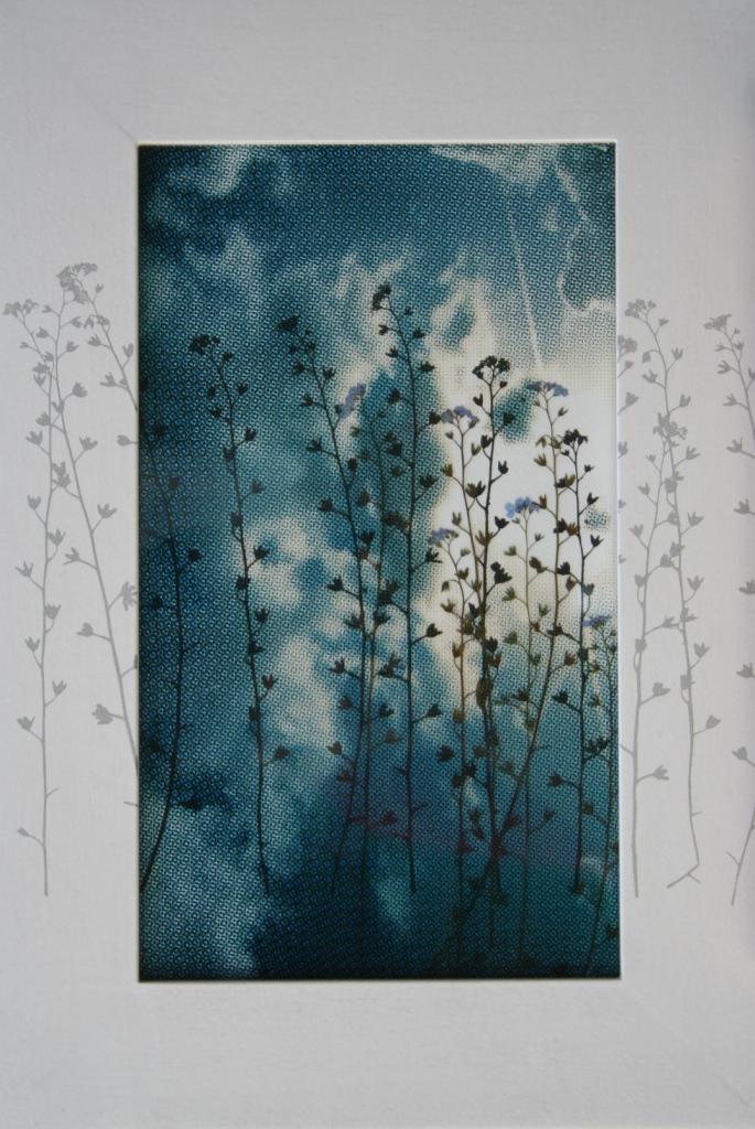 Vergeet mij niet  zeefdruk op glas-papier-lijst gedraagde plant 38 x 25 cm