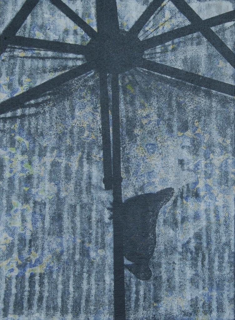 Parasol zeefdruk-acryl op linnen  20 x 15