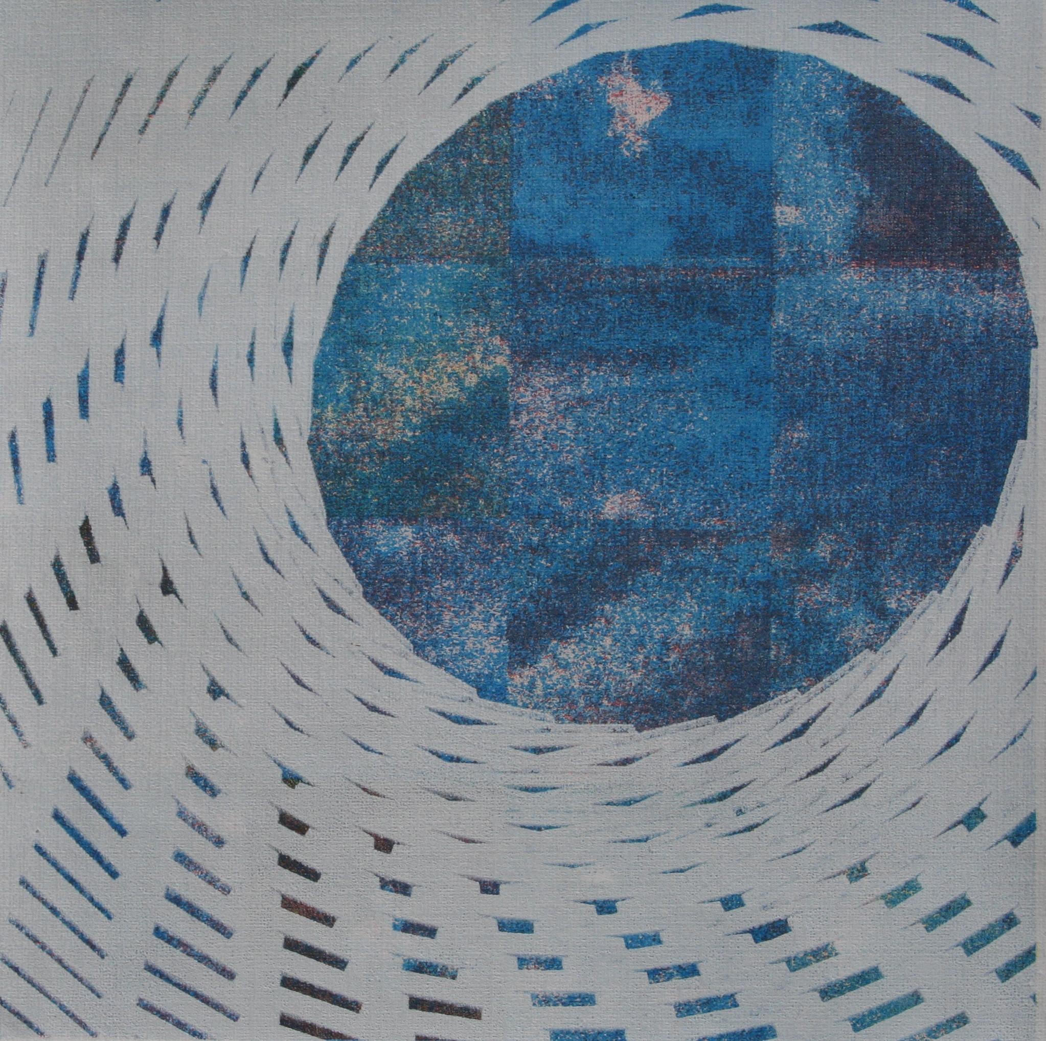 Avondcirkel zeefdruk op linnen 20 x 20