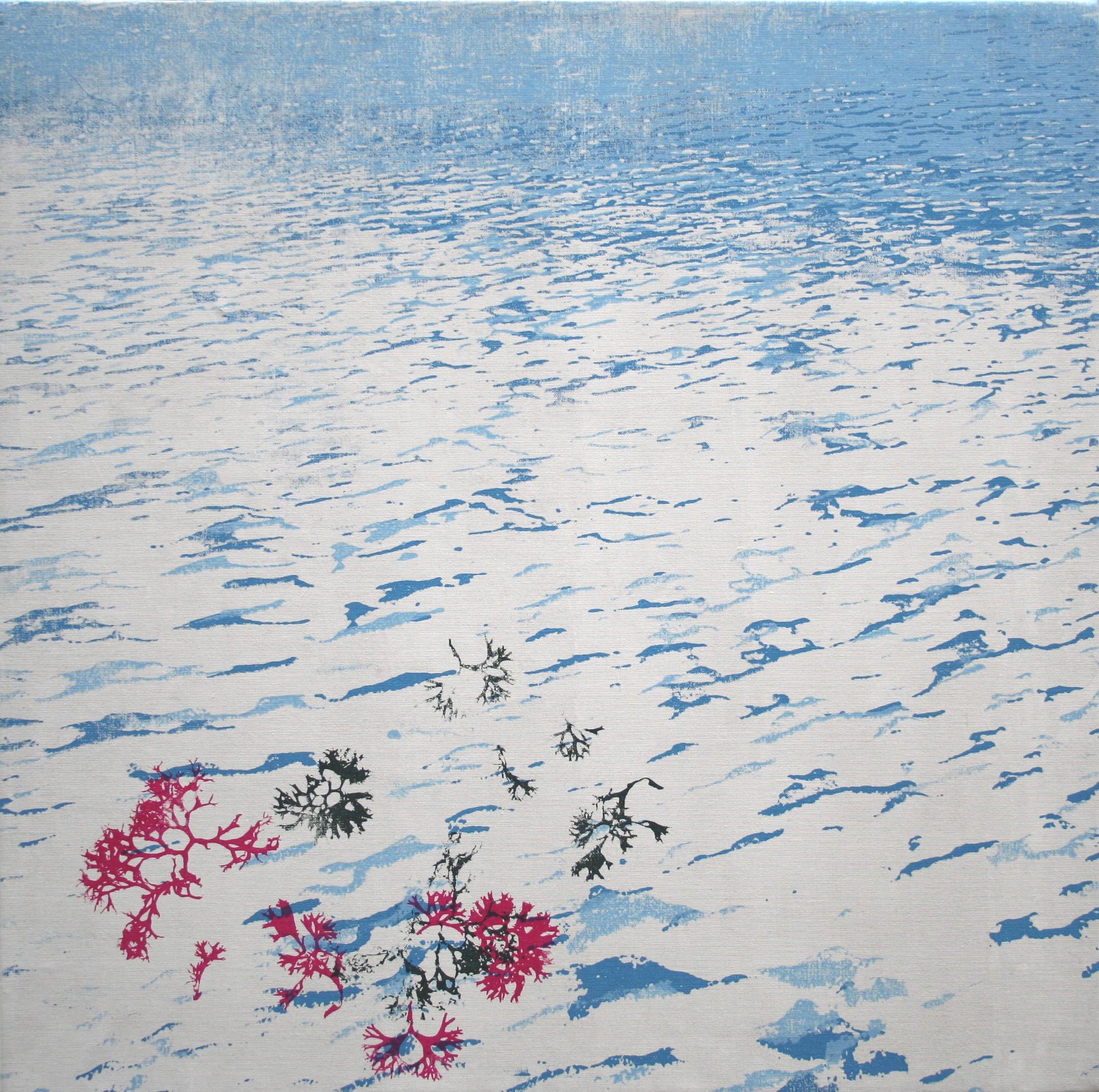 Bretagne (rose) zeefdruk op linnen 60 x 60 cm