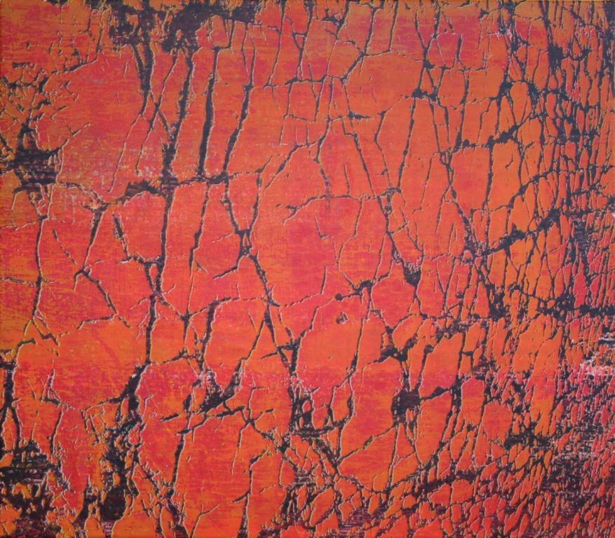 Breuklijnen I zeefdruk-acryl op linnen 70 x 80