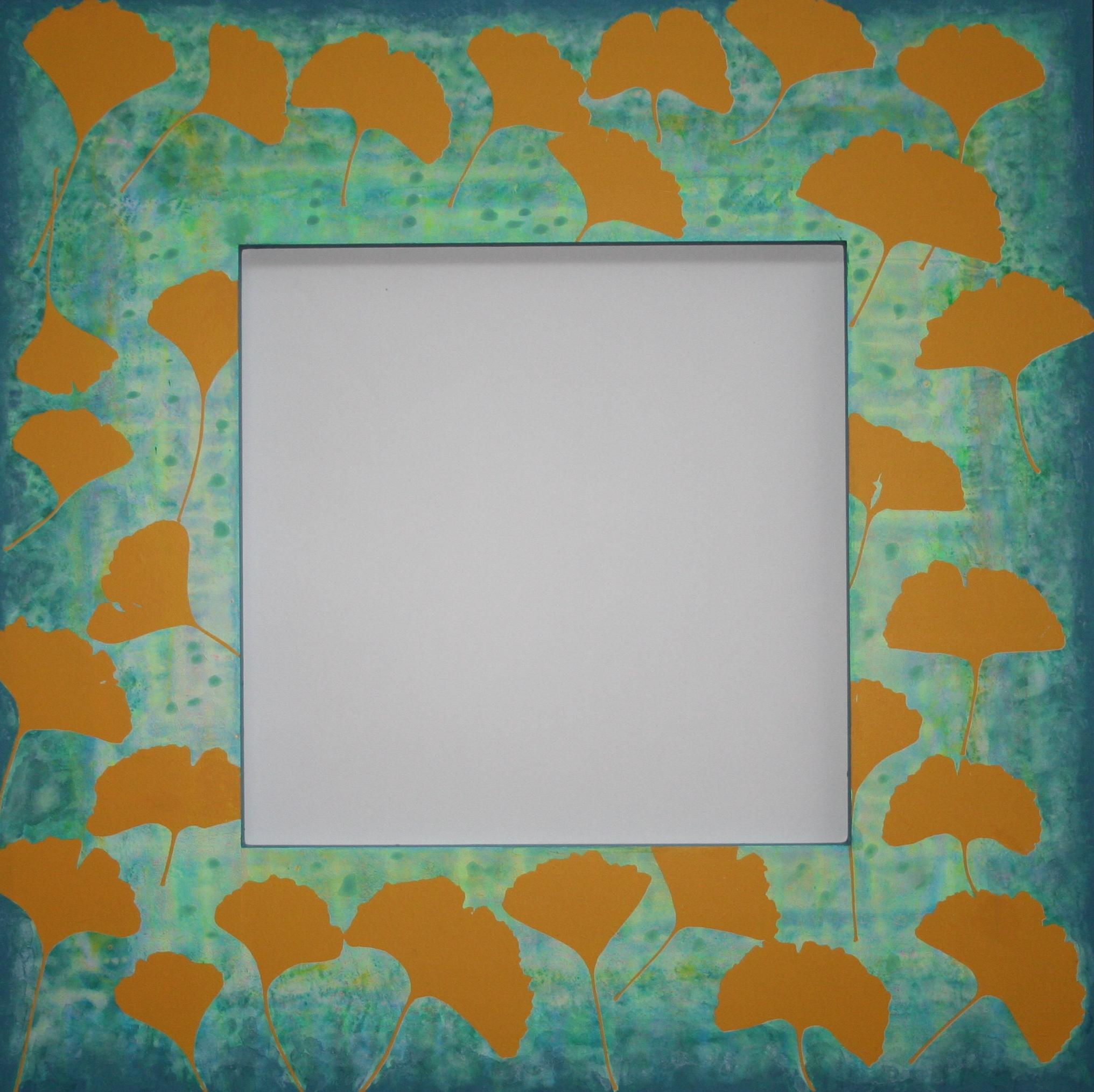 Ginko II  spiegel in lijst met zeefdruk 52 x 52 cm