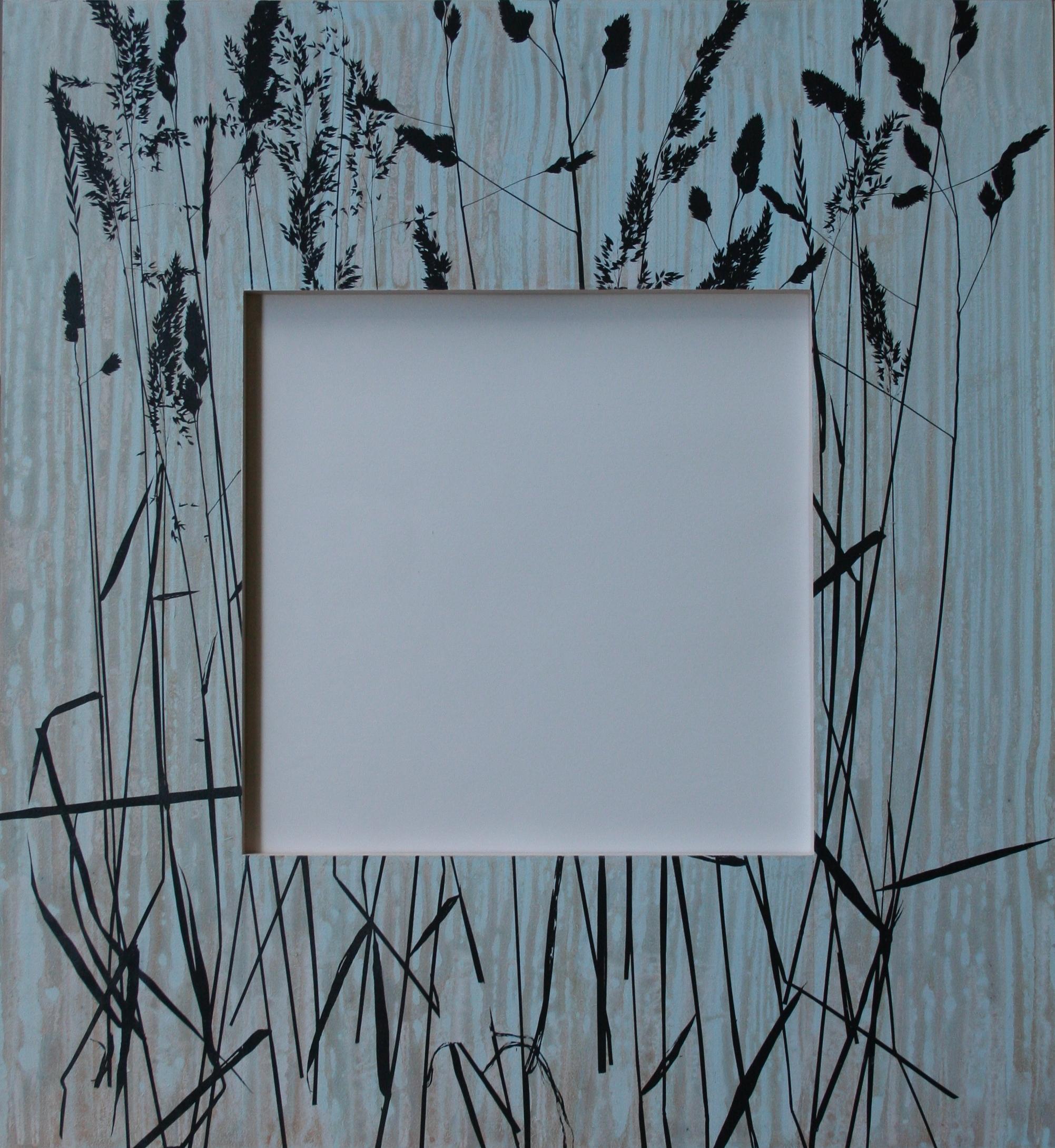 Gras II  spiegel in lijst met zeefdruk 60 x 52 cm