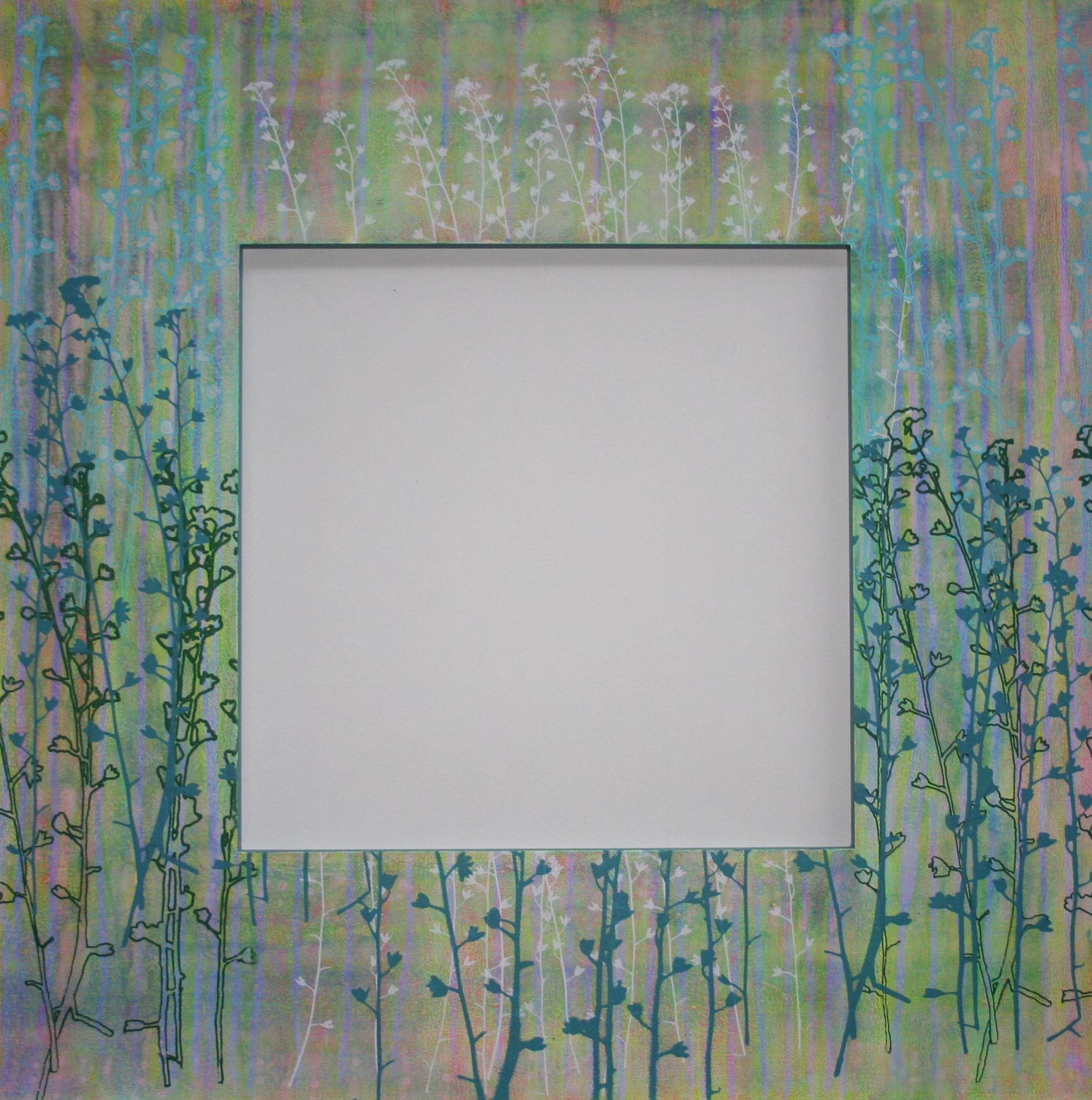 Vergeet mij niet III  spiegel in lijst met zeefdruk  52 x 52 cm
