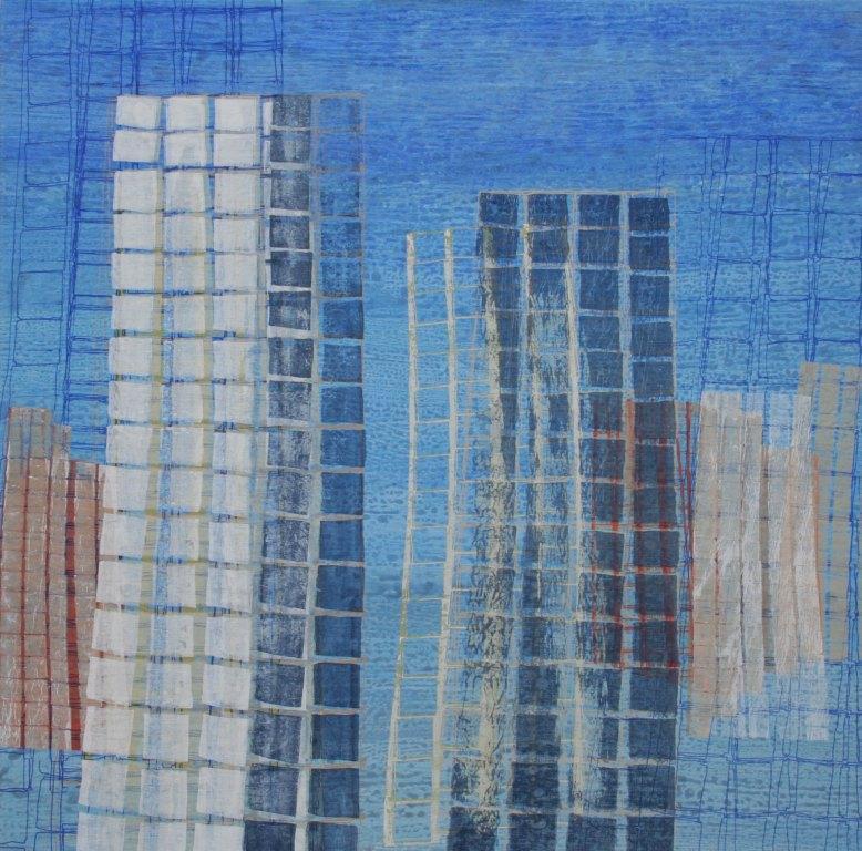 Verloren stad zeefdruk-acryl op linnen 100 x 100