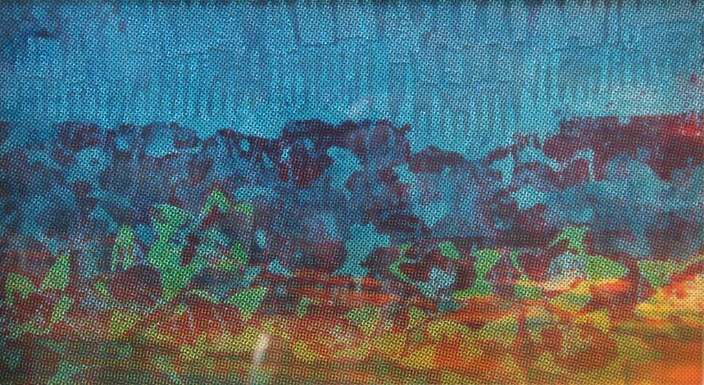 Winterbloemen  zeefdruk glas-papier 20 x 30 cm