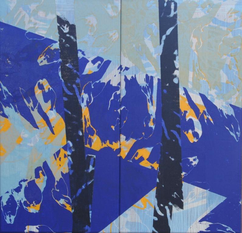 Z.T.(tweeluik) zeefdruk-acryl op linnen 66 x 89