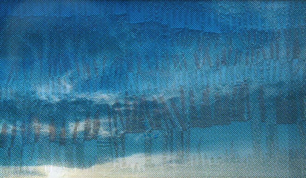 Zilverwerk  zeefdruk glas-papier 20 x 30 cm